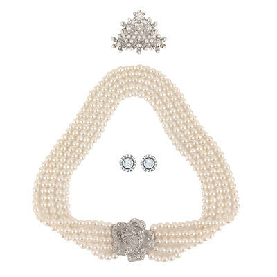 Utopiat Holly Vintage 3 Piece Crystal Jewelry Women Costume Accessories Set