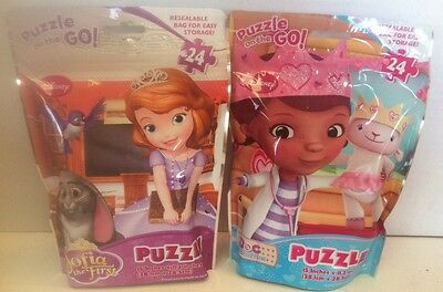 Disney Sofia The First & Doc McStuffins Puzzle On The Go! 24 Piece Puzzles New