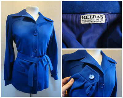 """~ Lovely Vintage 1970S 70S Fitted Classic Jacket Fab Pointy Collar 38"""" Bust ~"""
