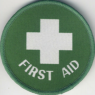 Woven Badge Patch First Aid Circle 71mm Diameter UK Manufactured