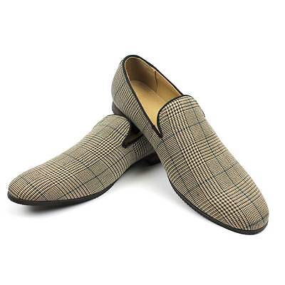 New Men's Brown Plaid Checkered Slip on Loafers Modern Dress Shoes Azar Man