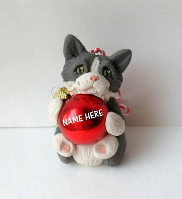 Personalized Grey and White Cat Ornament Polymer Clay CAT sculpted by Raquel