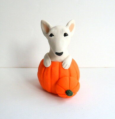 Bull Terrier sculpture Polymer Clay Mini DOG Hand sculpted by Raquel