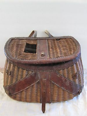 Antique Split Willow Fishing Creel With Leather Trim And Ruler On Top
