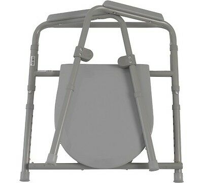 Drive Medical Steel Folding Bedside Safety Commode Toilet Chair Shower Seat