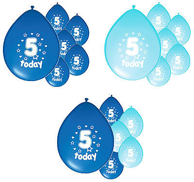 10 x 5th BIRTHDAY BOY/ AGE 5 BOY BLUE AND BABY BLUE BIRTHDAY BALLOONS (PA)