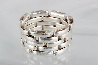 Sterling Silver Wide Chain Link Flexible Band Ring 925 Fine 7558