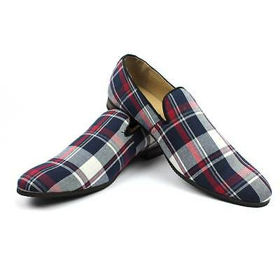 New Men's Blue Plaid Checkered Slip on Loafers Modern Dress Shoes Azar Man