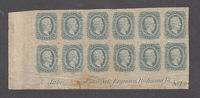 CSA Block of 12 with Imprint, #12, OG, Archer & Daly