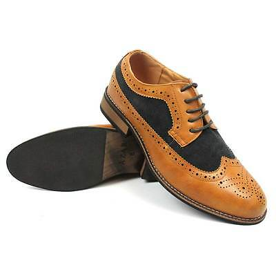 New Men's Cognac/Brown Wing Tip Brogue Suede/ Leather Lace Up Dress Shoes Azar