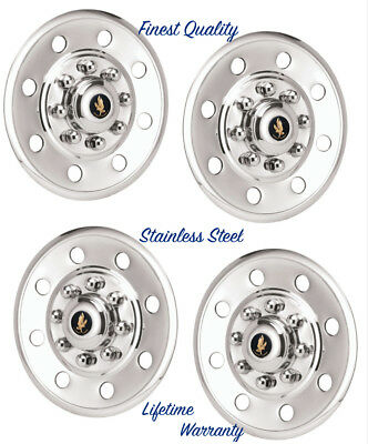 """16"""" Trailer / Horse / Toy Hauler Stainless Steel (4) Wheel Cover Hubcaps ©"""