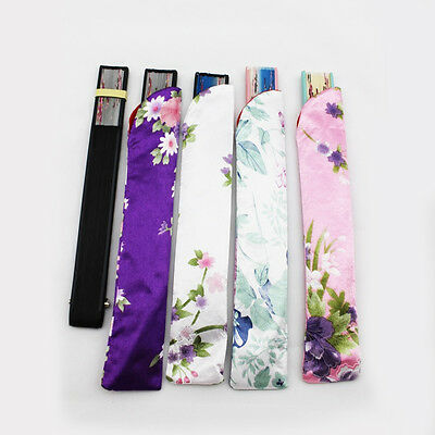 Flower Pattern Folding Hand Fan Silk Cloth Pouch Dustproof Protector Bag Cover