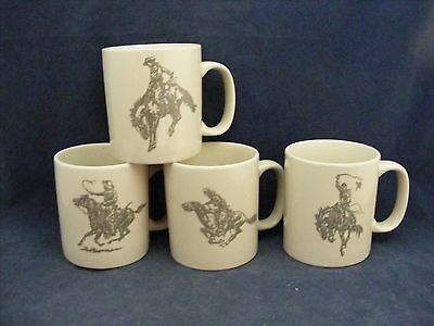 "4 Wild West Horse & Cowboy Mugs 3.5"" x 3.5"" Pony Express Bucking Mint Condition"