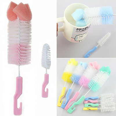 Hot Baby Milk Bottle Nipple Clean Brush Sponge Cleaner Brush with Pacifier Brush