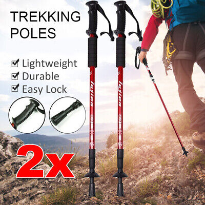 ANTI-SHOCK WALKING TREKKING POLES HIKING STICKS ADJUSTABLE 2x