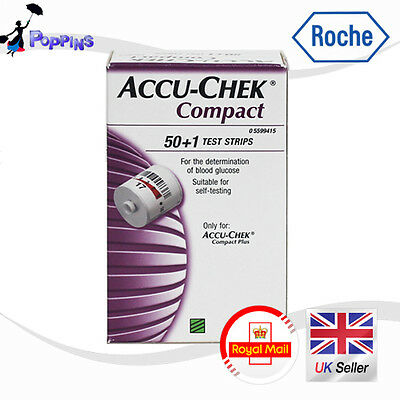 BRAND NEW & SEALED Accu-Chek Compact Glucose Test Strips Box of 51