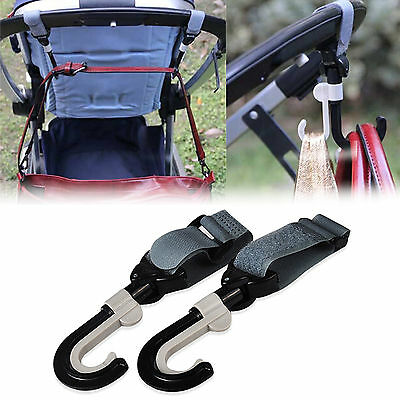 2x Pram Hook Baby Stroller Hooks New Shopping Bag Clip Carrier Pushchair Hanger