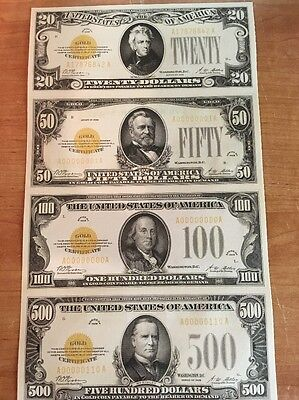 Copy Reproduction 1934 Gold Seal Uncut US Currency Sheet Paper Money $1k-$100k