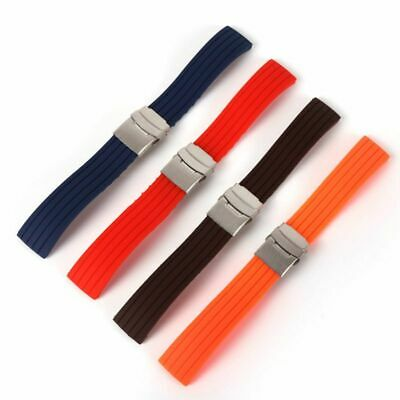 Unisex Waterproof Silicone Rubber Watch Strap Band Deployment Buckle Band Strap