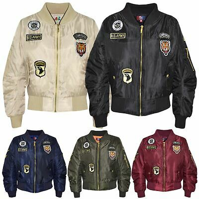 Kids Jacket Girls Boys Badges Print Bomber Padded Zip Up Biker Jacktes MA 1 Coat