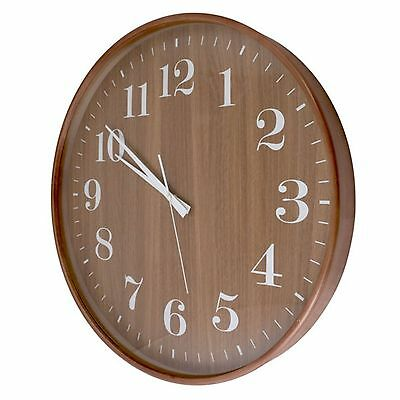 "Round Wooden Wall Clock Large Numbers Battery Operated 12.5""/20.5"""