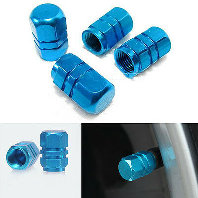4PCS Blue Aluminium Car Tire Valves Decorate Trims Auto Accessories
