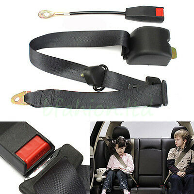 Adjustable Retractable Vehicle 3 Point Auto Car Safety Seat Lap Belt Buckle Kit
