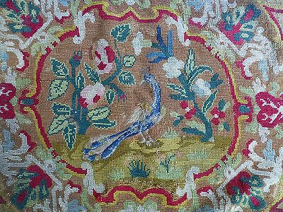 Antq 18th cent style embroidered needlepoint seat cover English country hse (c)