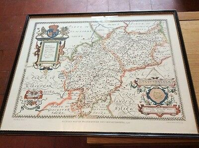 Saxton's Map Of Warwickshire And Leicestershire 1576 Framed Print