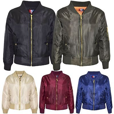 Kids Jacket Girls Boys Bomber Padded Zip Up Biker Jacktes MA 1 Coat 3-13 Years