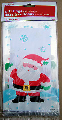 20 x Santa Christmas cello loot party favour Bags w/ twist tie fasteners FREE PP