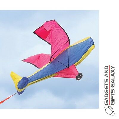 AEROPLANE KITE FUSELAGE FILLS WITH AIR MAINTAINS SHAPE outdoor garden summer toy