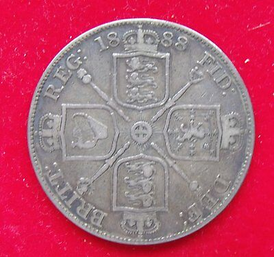 1888 Double Florin Four Shilling British Victoria .925 Silver  Coin Very Fine