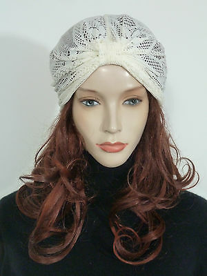 c5c8a7c5271 Fearlessly stylish lagenlook cream stretch lace vintage style evening turban