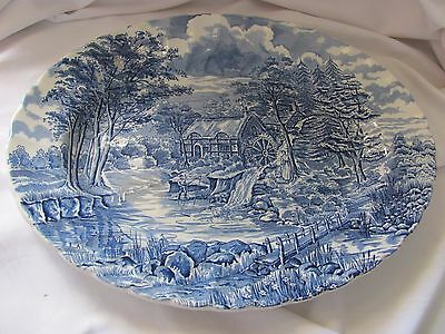 "Alfred Meakin Staffordshire England The Mill blue white platter 12.25"" across"