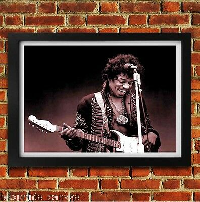 Jimi Hendrix Music Legend Poster Framed Wall Art Print Picture S M Large