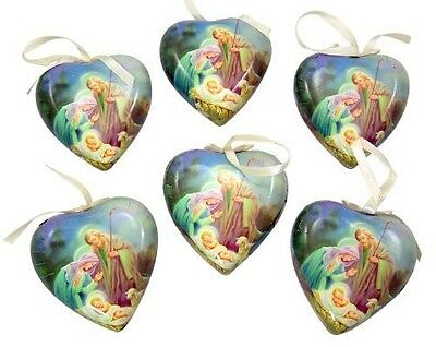 Religious Gifts Set of 6 Sleep in Heavenly Peace Decoupage Christmas Ornament