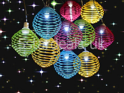New 10 Led Solar Colourful Spiral Ball Globe String Garden Outdoor Party Lights