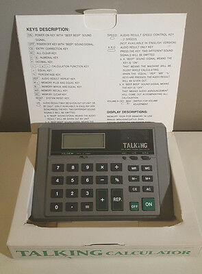 Electronic Talking Big Number Calculator w/ Box - Tested & Working