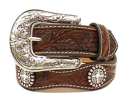 Ariat Western Girl Belt Kids Leather Scalloped Rhinestones Floral Brown A1304267