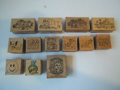 Lot of 13 Small Used Playful Animals Happy Face Dinosaur Wooden Rubber Stamps