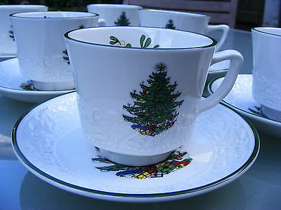 6 x beautifully embossed Cuthbertson CHRISTMAS TREE cups and saucers
