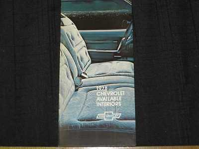 1978 Chevrolet Interiors Folder Sales Brochure