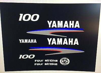 Yamaha 4 stroke 100 hp Outboard Decal Sticker Kit    Marine vinyl