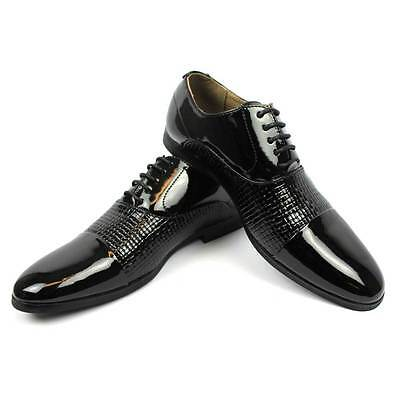 Mens Dress Black Tuxedo / Formal Cap Toe Patent Textured Shinny Shoes By AZAR