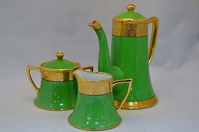 Unusual Vintage Noritake Green and  Gilded Coffee Set, Coffee Pot, Milk & Sugar