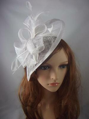 White Teardrop Sinamay Fascinator with Feathers - Occasion Wedding Races