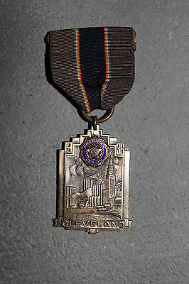 1936 d. AMERICAN LEGION 'CLEVELAND' CONVENTION DOUBLE SIDED MEDAL W/RIBBON, PB