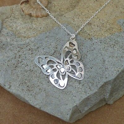 New Solid 925 Sterling Silver Butterfly Necklace Jewellery Chain 18""