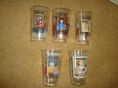 Tintin Glasses - 5 Large, 4 small - all different.